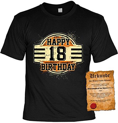 Happy 18 Birthday: Geburtstags/Fun-Shirt/Party-Shirt inkl. Spaß-Urkunde zum 18. Geburtstag Schwarz