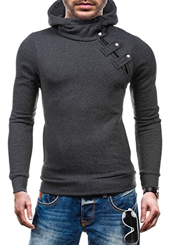 BOLF – Sweat-shirt à capuche – Boutons – STX MARIO – Homme Anthracite
