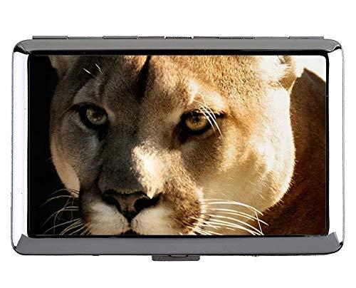 Silber Metall Zigarettenetui, Cougar Leopard Metall Tasche Visitenkartenetui -