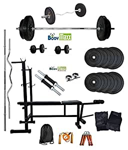 Body Maxx 100 Kg Weight lifting combo of Home Gym Rubber plates + Multi Purpose 6 in 1 bench press + 2 Dumbells Rods + 3 Feet Curl Bar + 5 Feet Straight Bar + Gloves + Rope + Gym Bag + Hand Grippers & 4 Locks