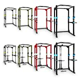 CAPITAL SPORTS Tremendour Power Rack • Power Cage • Kraftstation • mit Latzugturm • 2 x Safety Spotter: 20-stufig • 4 x J-Hooks • Multigripp-Klimmzugstange • aufsteckbare Dipstangen • Stahl-Kantrohrrahmen • silber - 8