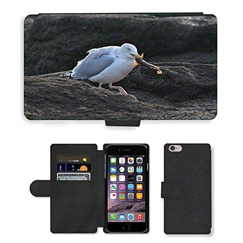 Just Mobile pour Hot Style Téléphone portable étui portefeuille en cuir PU avec fente pour carte//m00139891Seagull Bird Animal de la mer océan//Apple iPhone 6Plus 14cm