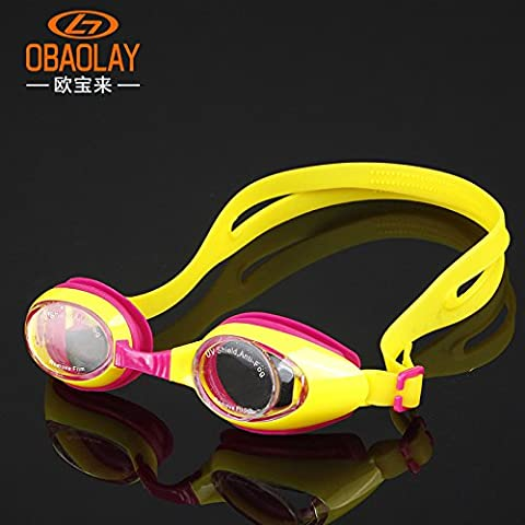 mccswimming Supplies scatola impermeabile anti-fog goggles piatta in silicone bambino costume, pink yellow