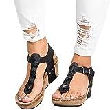 Minetom Sandalias Y Chancletas De Tacón Alto Plataforma para Mujer, Playa Zapatos De Verano Negro EU 34