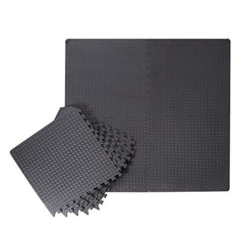 HOMCOM 6 tlg Matte Gummimatte Bodenmatte Bodenschutzmatte Bodenbelag Puzzlematte EVA verzahnt schwarz