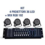 TrAdE shop Traesio - KIT PAR LED FARO RGB 36 LED STROBO PROGRAMMABILE DMX + MIXER 192-4 PZ