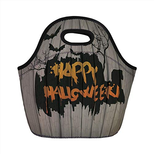 Jieaiuoo Portable Lunch Bag,Halloween Decorations,Happy Graffiti Style Lettering on Rustic Wooden Fence Scary Evil Artwork,Multi,for Kids Adult Thermal Insulated Tote Bags
