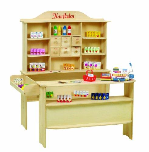 roba Kaufladen, großer Kinder Kaufmannsladen, inkl. Kaufladenzubehör, Holz natur, Verkaufsstand 6 Schubladen, Theke & Seitentheke