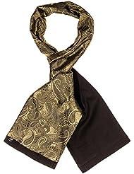 Mailando Herrenschal aus Kaschmir und Seide, Paisley Muster, gold – bronze