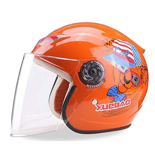 Yedina Kinderhelm Elektro Motorradhelm Kinder Cartoon Helm Helfen Kinder Leichte Fahrrad Universal Helm Vier Jahreszeiten Sommer Sonnencreme Pedal Roller Helm (Orange) (Baby Mit Brille)
