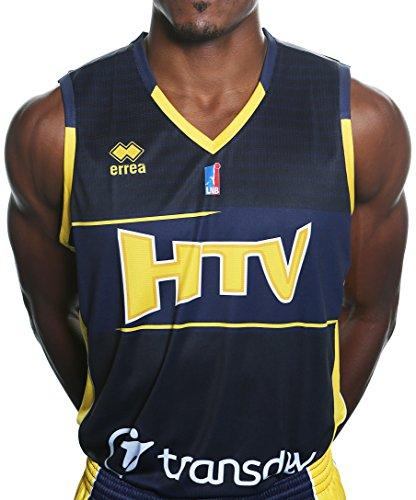 Errea HTV hyères Toulon réplica exterior–Camiseta de baloncesto para hombre, Hombre, Htv Hyères Toulon Réplica Extérieur, azul marino y amarillo, L