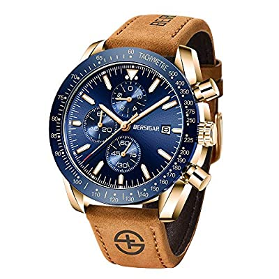 Reloj de Pulsera de Cuarzo analógico para Hombre BERSIGAR | Elegante Reloj de Silicona para Hombre de 30M con Correa de Silicona Azul