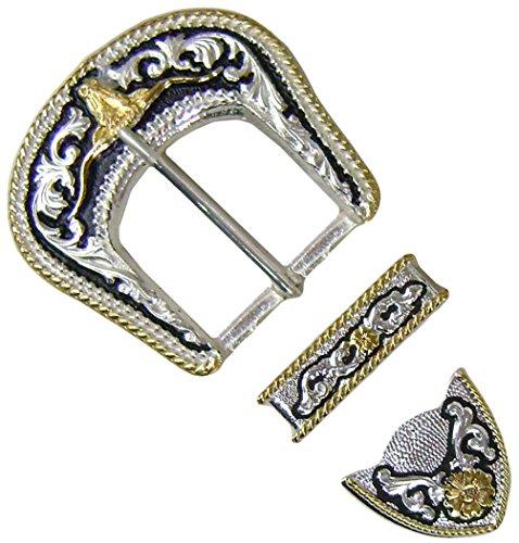 "Modestone 3 Pc Set Nickel Silver Buckle, Loop & Tip Bull Longhorn 1 1/2"" Width Gürtelschnalle Bull Riding"