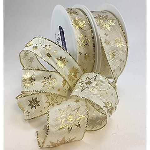Nastro di lusso, colore: panna con oro fiocco di neve 25o 40mm x 1m Lunghezza di taglio, 40 mm - Organza Circle