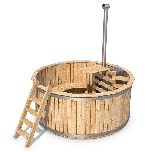 Badezuber Badefass Holz Badetonne inkl. Ofen 190 oder 240 cm