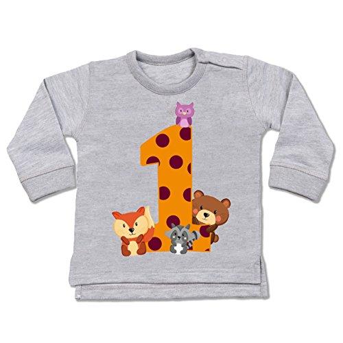 Shirtracer Geburtstag Baby - 1. Geburtstag Waldtiere - 6-12 Monate - Grau meliert - BZ31 - Baby Pullover