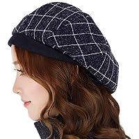 Sombrero - Otoño e Invierno Ocio Reducido por Edad Sombrero de Boina Hembra Elegante Compruebe Cálido Sombrero (opción de 2 Colores) (Color : A, Tamaño : S(54-56cm))