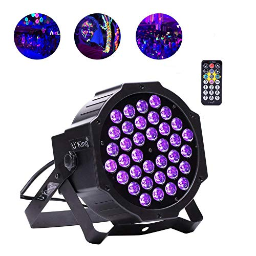 U`King UV Schwarzlichter 72 W 36 LED Par Licht per Fernbedienung und DMX gesteuert Idealer Schwarzlicht Spot für Glow Fluooreszierende Party DJ Disco Bar Bühnenbeleuchtung Shows 1 pack uv black light -