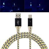 Siswong LED Ladekabel Für Samsung S9, 1M Typ-C Micro USB Superlang Geflochten Aluminium 3.1 Twist Sync Datenkabel Netzkabel Ladegerät Kabel (Schwarz)