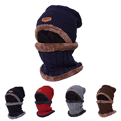 INFIKNIGHT INF Warm Knit Beanie Scarf Set Plush Hat Neckerchief Set Women Men Sports Hiking Camping Cycling Skull Cap Outdoor Sports Equipment -