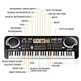 Shayson Kids Piano Keyboard, Multi-function 61 Key Piano Electronic Organ Music Child Musical Electronic Karaoke Keyboard Microphone Kids (61 Key - Black)