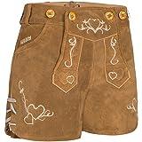 PAULGOS Damen Trachten Lederhose + Träger, Echtes Leder, Sexy Kurz, Hotpants in 2 Farben Gr. 34-42 H2 (38, Hellbraun)