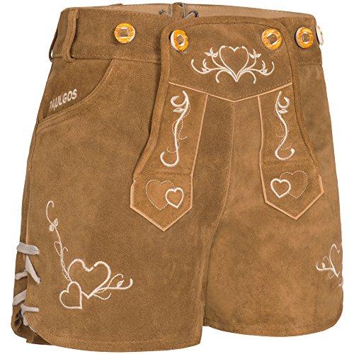 en Lederhose + Träger, Echtes Leder, Sexy Kurz, Hotpants in 2 Farben Gr. 34-42 H2 (36, Hellbraun) (Kurze Damen Trachten)