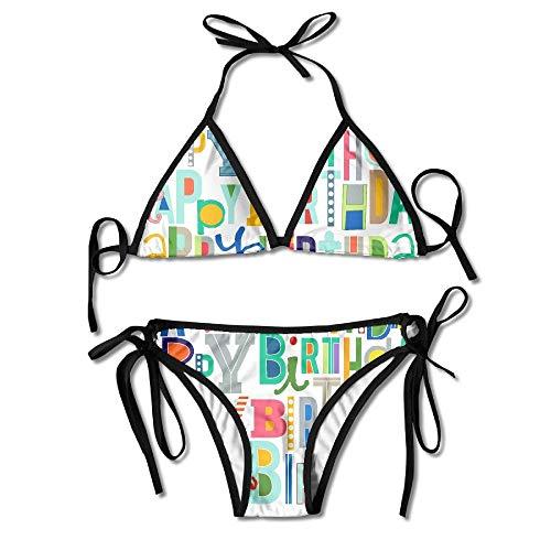 Sexy Triangle Bathing Two Pieces Women's Bathing Suit Adjustable Happy Birthday Art Sexy Bikini Set (Suit Happy Birthday)