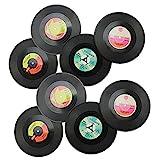 COM-FOUR 8er Set Vinyluntersetzer, 11 cm, Tischdeko