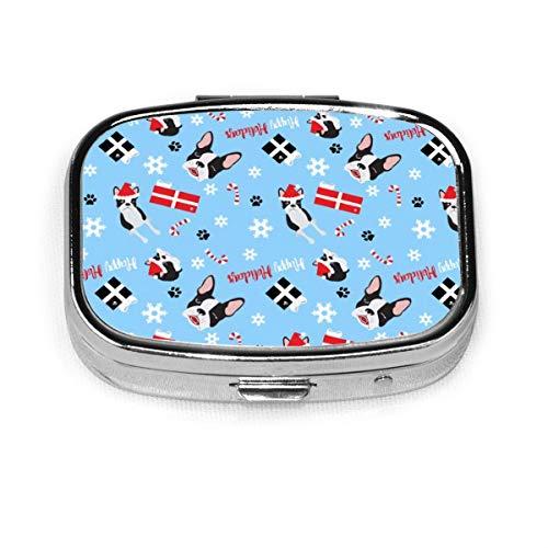 Pille Box, Boston Terrier Weihnachten personalisierte rechteckige Pille Fall Halter dekorative Box Tasche Geldbörse Reise Pille Vitamin Tablet Medizin Fall -