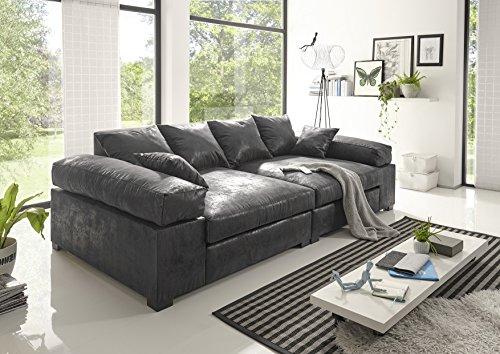 Reboz Big Sofa Vintage in verschiedenen Farben schwarz Hellbraun Dunkelbraun Megasofa (Vintage Schwarz) (Sofa Big)