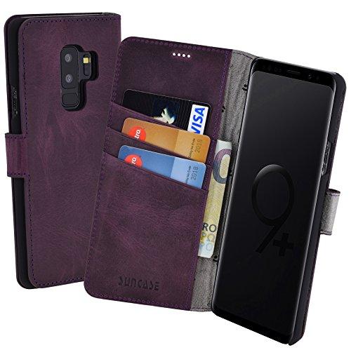 Suncase Book-Style (Slim-Fit) für Samsung Galaxy S9 Plus Ledertasche Leder Tasche Handytasche Schutzhülle Case Hülle (mit Standfunktion und Kartenfach) antik lila