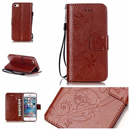 JIALUN-étui pour téléphone Avec Slot à carte, Lanyard, Pressure Beautiful Pattern Fashion Open Cell Phone Shell pour IPhone 5 5S SE ( Color : Pink , Size : IPhone 5S SE ) Brown