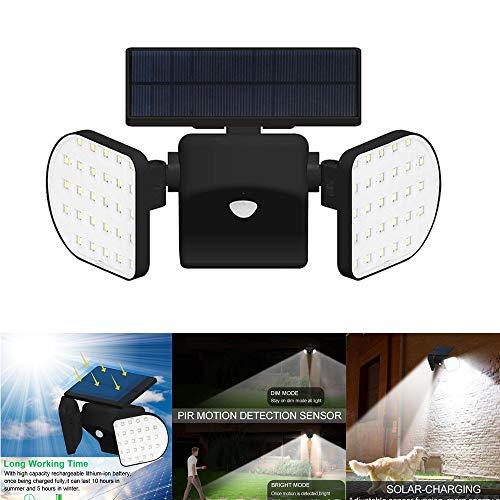 Solarleuchten Garten mit Bewegungsmelder Super Hell 30LED Solar Wandleuchte Aussen LED Wasserdicht IP65 360° Drehbar Dual Lichtkopf und Solar Panel Sicherheitslicht für Garten Garage Wand 360 Panel