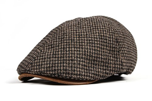 WITHMOONS Schlägermütze Golfermütze Schiebermütze Tweed Newsboy Hat faux leather brim Flat Cap SL3019 (Brown) (Tweed-newsboy)