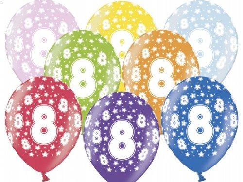 """SiDeSo® 10 Luftballons 12"""" Party Geburtstag Jahrestag (Zahl 8)"""