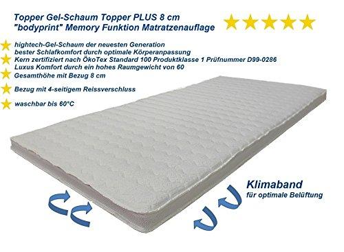 betten-traum-land Topper Gel-Schaum Topper PLUS 8 cm bodyprint Memory Funktion Matratzenauflage (180x200 cm)
