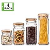 Elegant Life 4-teiliges Nahrungsmittelspeicher-Behälter-Set, Glaspantry-Küchen-Vorratsgläser, Clear Luftdichtes Kanister-Set mit luftdichten Klemmdeckeln