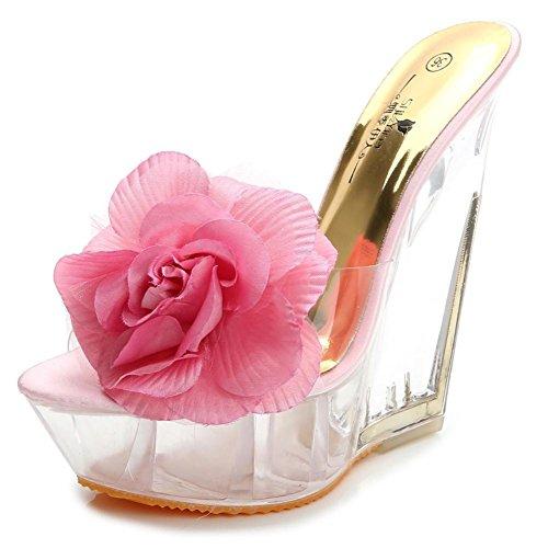 Lemon&T Vintage Style Summer Abricot Bleu Rose des femmes Transparent Peep-toe Slip cristal en caoutchouc résistant Sole Fleur Talons Compensées Sandales pink