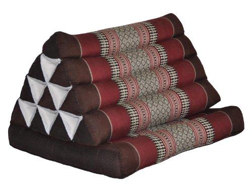 Matelas avec coussin triangle, thaïlande, coussin de méditation, oreiller Marron/bordeaux (82501)