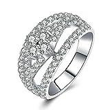 AmDxD Schmuck 925 Silber Damen Heiratsantrag Ring Hohl Weiß Arc Cubic Zirkonia Solitärring Silberringe Gr.56 (17.8)