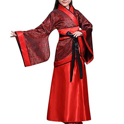 Huatime National Traditionell Tanzen Hanfu - Mädchen Historisch Chinesisch Braut Kostüm Tang-Anzug Kostüm Zubehör Cosplay Bühne Vorstellungen Teamuniform (UK 100=Etikette 110) (Chinesischen Nationalen Kostüm Mädchen)