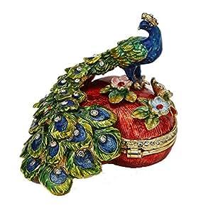 en forme de cœur mâle Paon figurine Box Cristaux Swarovski Bird Bijoux, boîte à bijoux, souvenir ou Boîte à pilules figurine