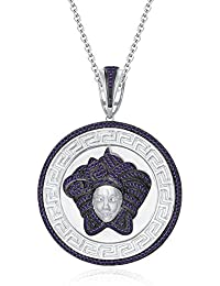 "Silvernshine 1.25 Ct Round Cut Amethyst Versa Pendant 18"" Chain In 14K White Gold Fn 925 Silver"