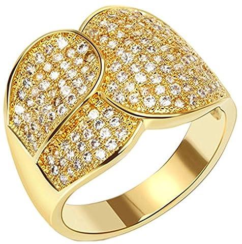 AnaZoz Bague Femme Mariage Élégant 18K Plaqué Or Irrégulier Design Incrusté Zircon Cubique Cristal Or Taille 54 Bague de Fiançailles Accessoires de Mariée