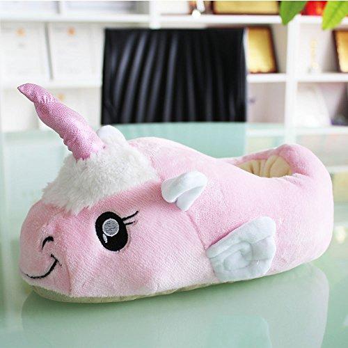 Aardvark Art Unicorn Einhorn Plüsch Hausschuhe Schuhe Erwachsene Rosa