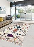 Tapis Grand Dimensions Berber Tribal MK 03 Blanc 60 x 110 cm Tapis de Salon Moderne Design