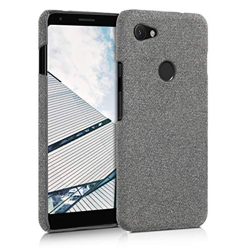 kwmobile Hülle für Google Pixel 3a XL - Stoff Cover Google Pixel 3a XL Handyhülle in Hellgrau