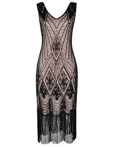 PrettyGuide Damen 1920er Gatsby Art Deco Pailletten Cocktail Charleston Kleid L Schwarz beige
