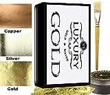 100Blatt Blattgold Kit, 24ct Blattgold Vergoldung–100Gold Blatt, Größe (Kleber) & Bürste